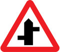 UK Traffic Sign Diagram Number 507.1 LR - Staggered Junction Ahead - Left Right
