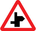 UK Traffic Sign Diagram Number 507.1 LRR - Staggered Junction Ahead - Left Right - Road continues to right