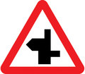 UK Traffic Sign Diagram Number 507.1 RLL - Staggered Junction Ahead - Right Left - Road continues to left