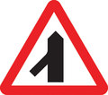 UK Traffic Sign Diagram Number 508.1 - Traffic Merges Ahead from Left
