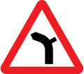 UK Traffic Sign Diagram Number 512.1 L - Bend Ahead - Left - Junction on Right