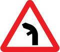 UK Traffic Sign Diagram Number 512.2 L - Bend Ahead - Left - Junction on Left