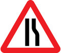 UK Traffic Sign Diagram Number 517 R - Road Narrows Ahead on Right