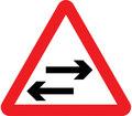 UK Traffic Sign Diagram Number 522 - Two-way Traffic Crosses Ahead
