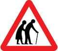 UK Traffic Sign Diagram Number 544.2 - Frail or Disabled Pedestrians in Road Ahead