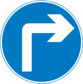 UK Traffic Sign Diagram Number 609 A - Compulsory Manoeuvre