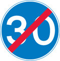 UK Traffic Sign Diagram Number 673 - End of 30 MPH Minimum Speed Limit