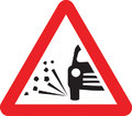 UK Traffic Sign Diagram Number 7009 - Loose Chippings