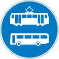 UK Traffic Sign Diagram Number 953.1V -  Buses and Trams Only