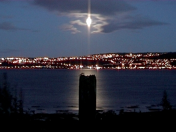 The moon over the Clyde, from the shore of Ardmore Point; own picture, 2003