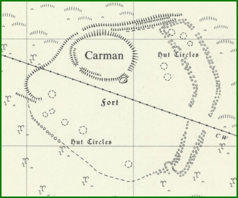 Carman Hill Fort, from OS 1:2500 map, 1963 revision